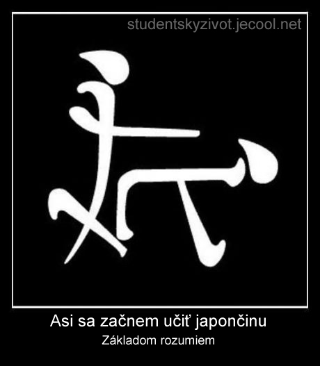 Japonské znakové písmo nevyzerá byť príliš ťažké. Zábavné obrázky, študentský život