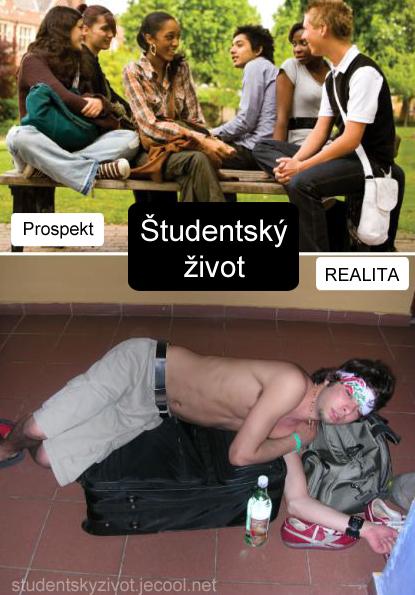 Študentský život ako ho vidia neznalý a realita. Zábavné obrázky.